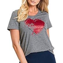 BCDshop Summer Women Tops Heart Arrow Print Short Sleeve T-Shirt Casual O-Neck Blouse