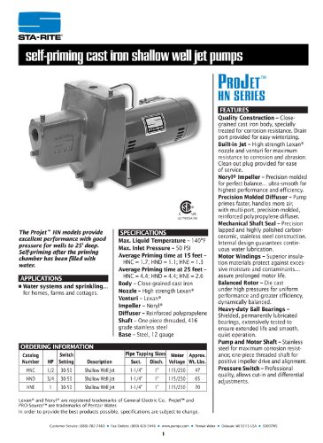 Sta-Rite HNE 1 H.P. 1/115-220V, Shallow Well Jet Pump with a 1