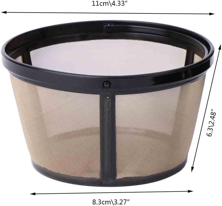 ruiruiNIE sin BPA Herramienta de Malla de Metal Permanente Estilo Canasta de Filtro de caf/é Reutilizable para 10-12 Tazas