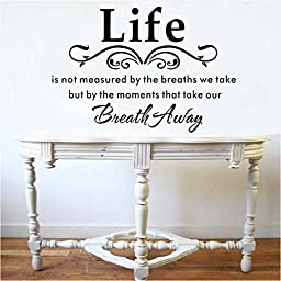 ZOOYOO Life Is Not Measured By the Breaths We Take, but By the Moments That Take Our Breath Away-vinyl Wall Lettering Stickers Quotes and Sayings Home Art Decor Decal (DESIGN 1, 1)