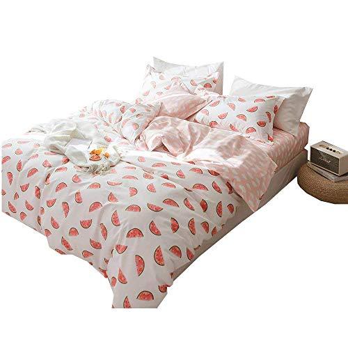 AMWAN Cotton Pink Fitted Sheet Queen Clouds Pattern Kids Girls Bedding Sheet Modern Soft Teens Children Fiteed Sheet Fresh Queen Bed Bottom Sheet All Seasons Mattress Cover, Skin-Friendly