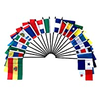 """Central and South America World Flag SET-20 Polyester 4""""x6"""" Flags, One Flag for Each Country in Latin America, 4x6 Miniature Desk & Table Flags, Small Mini Stick Flags"""