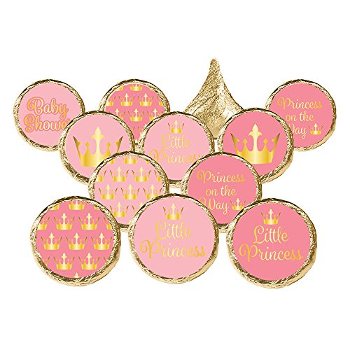 DISTINCTIVS Pink Gold Princess Girl Baby Shower Favor Stickers, 324 Count ()