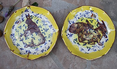 Bunny Plate set of 2, handmade ceramic dessert