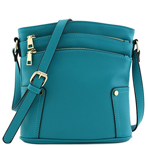Triple Zip Pocket Medium Crossbody Bag (Teal) by FashionPuzzle