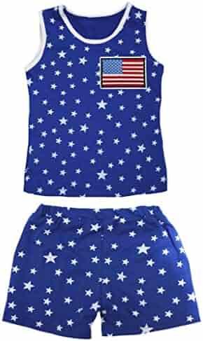 Petitebella British Heart Patriotic Stars Red Cotton Shirt Blue Short Set 1-8y