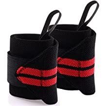 Adjustable Weight Lifting Training Wrist Straps Support Braces Wraps Belt Protector for Weightlifting Crossfit Powerlifting Bodybuilding - For Women and Men Pack of 2 By Yosoo