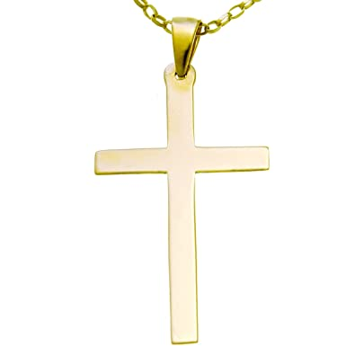Large Mens 9ct Gold Cross Pendant Necklace With 20