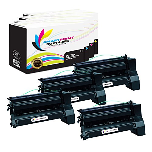 Print Magenta C772 Cartridge - Smart Print Supplies Compatible C780 C782X1KG C782X1CG C782X1MG C782X1YG Extra High Yield Toner Cartridge Replacement for Lexmark C770 C772 C780 C782 X780 X782 Printers (Black, Cyan, Magenta, Yellow)