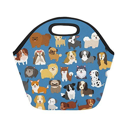 InterestPrint Insulated Lunch Tote Bag Cute Puppy Pug Dog Reusable Neoprene Cooler, Animal Blue Portable Lunchbox Handbag for Men Women Adult Kids Boys Girls Girl Puppy Dog