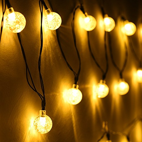 Cmyk solar operated 30 led string light with crystal ball - Led light bulbs for exterior use ...