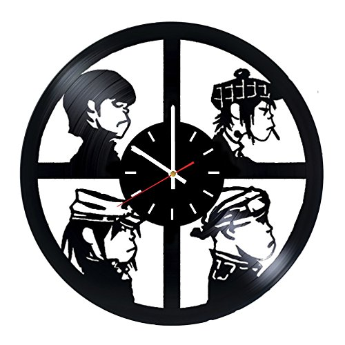 Gorillaz Band Vinyl Record Wall Clock – Living room or Bedroom wall decor – Gift ideas for friends, teens, girls – Rock Unique Art Design For Sale