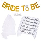 Bachelorette Party Bride to Be Kit - 6 Unique Sash for Bride, Bridesmaid and Maid Of Honor,1 Rhinestone Tiara, 1 Wedding Veil with Comb, 1 Bride To Be Banner (WHITE)