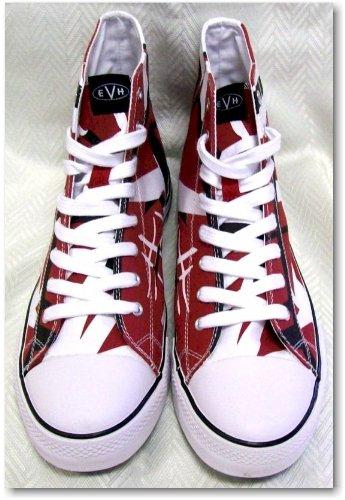 c589afb9928 Amazon.com | Size 7.5 Eddie Van Halen EVH Red/Black/White Combo HIGH Top Sneaker  Tennis Shoes EV027 | Fashion Sneakers