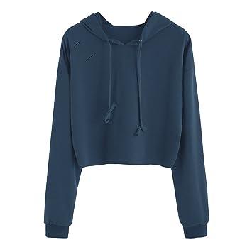 EARS Art- und Weise Frauen Langes Hülsen Sweatshirt Pullover Hole Tops  Bluse (Dunkelblau, 07e9f60a44