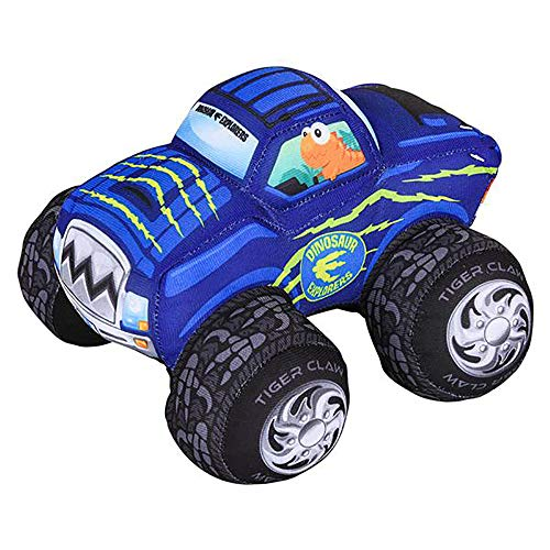 "8"" Dino Plush Car- 1 Piece of Blue Stuffed Big Wheel Toy Car- Safari-Designed Monster Truck- Educational Gift Idea for Babies, Toddlers, Preschoolers and Kids"