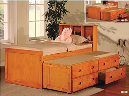Amazoncom Twin Bed With Bookcase Headboard And Trundle And