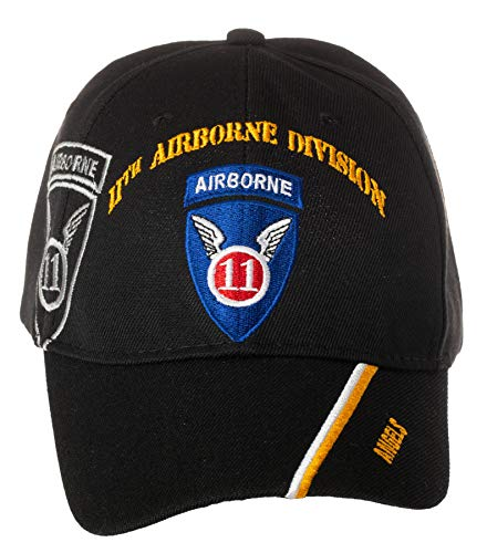 Airborne 11th - Artisan Owl Officially Licensed US Army 11th Airborne Division Angels Embroidered Black Adjustable Baseball Cap