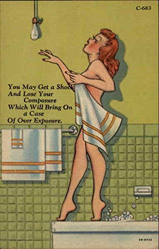 Woman Nearing Lightbulb in Bathtub Swimsuits & Pinup Original Vintage Postcard by CardCow Vintage Postcards