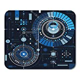 Boszina Mouse Pads Architecture Blue Geometry Future Technology Drawing Industrial Graphic of Engine Mechanism Abstract Mouse Pad for notebooks,Desktop Computers mats 9.5'' x 7.9'' Office Supplies