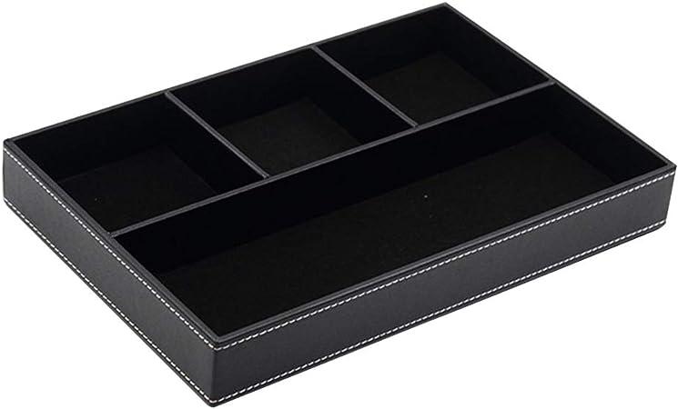 Bclaer72 - Portadocumentos para Escritorio, Caja de Almacenamiento, 4 Compartimentos, Piel sintética, Bandeja para Escritorio o cómoda, Negro, Tamaño Libre: Amazon.es: Hogar