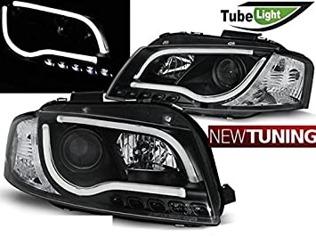 Faros delantero Audi a3 8p 05.03 - 03.08 Tubo LED Lights Negro: Amazon.es: Coche y moto
