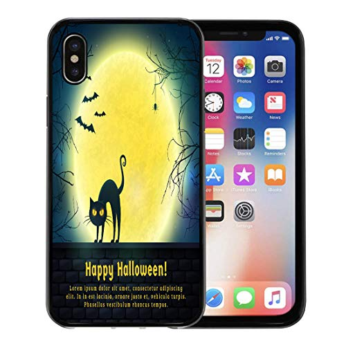 Emvency Phone Case for Apple iPhone Xs Case/iPhone X Case,Happy Halloween Full Moon and Evil Cat Spooky Night Soft Rubber Border Decorative, -