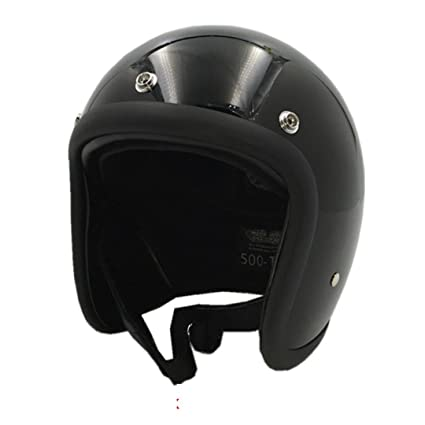 TOUKUI Face Motorcycle Helmet Vintage Motorcycle Helmet Chopper Retro Helmet Bell gloss black M