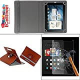 ECellStreet PU LEATHER 360° Rotating Flip Case Cover With Stand For Kindle Fire HD 7 + Free Tempered Glass toughened Glass Screen Protector - Brown