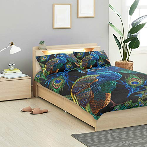 KVMV Embroidery Peacocks Pattern Fashionable Template Duvet Cover Set Design Bedding Decoration King 3 PC Sets 1 Duvets Covers with 2 Pillowcase Microfiber Bedding Set Bedroom Decor Accessories (Peacock Designs Embroidery)