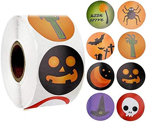 1.5 Circle Labels Halloween 600 Pcs Halloween Style Round Stickers in 16 Designs in 2Rolls for Kids Party Favor