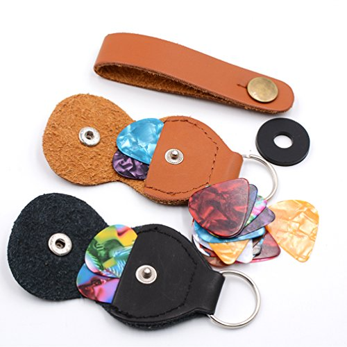 Guitar picks and-pick Holder Caseincluding 2 Pick Holder Case10pcs 0.46mm Pick10pcs 0.71Pick,4pcs 0.91Pick (2 Pick Holder+24Pick)