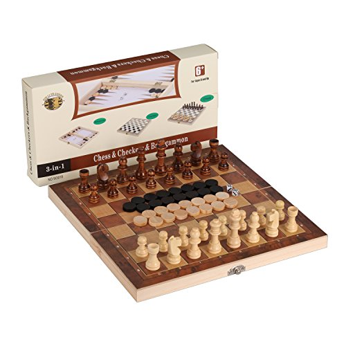 3-in-1 Folding Travel Chess & Checkers & Backgammon Wooden Chess Set by Joview for Kids or Adults Chess Board Game 11.5X11.5X0.8Inch(Beige&Dark Brown Chess Pieces) ()