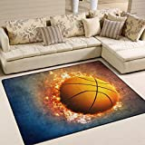 Naanle Sport Area Rug 4'x5′, Fire Basketball Polyester Area Rug Mat for Living Dining Dorm Room Bedroom Home Decorative