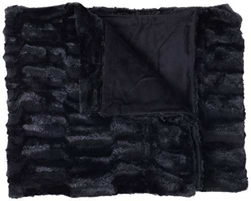 Sweet Home Collection Casie Decorative Reversible Faux Fur and Mink Throw Blanket, 50 x 60', Box Pattern, Black