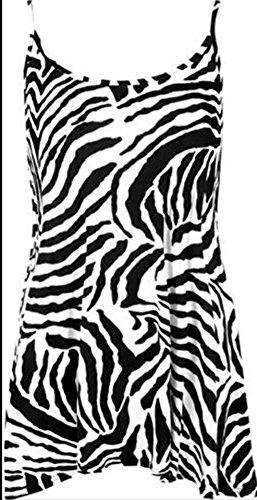 Cotton Sleeveless Zebra Print Top (Womens Ladies Strap Check Spicy Print Long Sleeve Casual Swing Dress Flared Long Summer Sleeveless Cami Dress Top (US Small/UK S-M, Zebra print))
