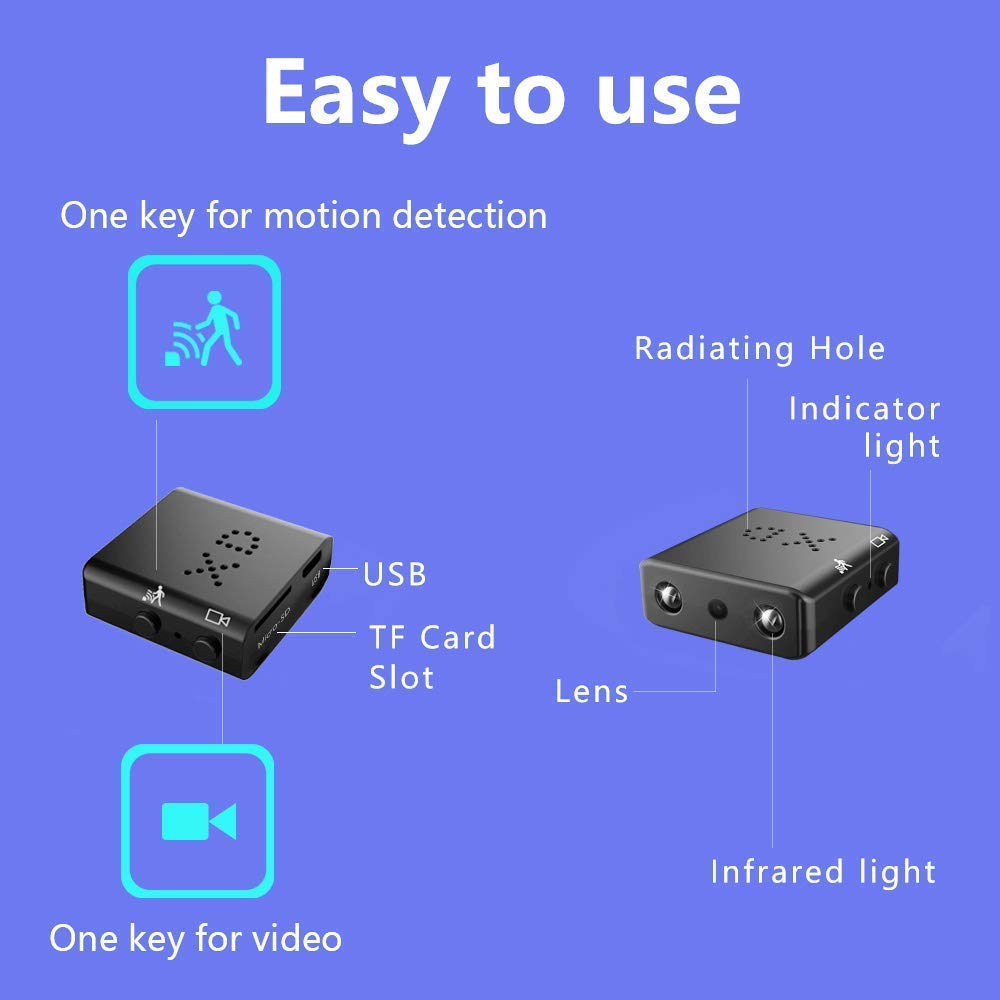 Tiny Hidden Security Camera,1080P HD Mini DV DVR Small Video Camera Night Vision Detection Home Office Warehouse VCXN 3216558777
