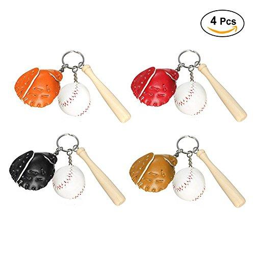 Mini Baseball Glove Wooden Bat Keychain Keyring, Pack of 4