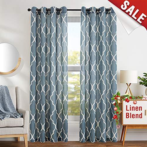 Print Curtains 84 inch Lattice Moroccan Tile Flax Linen Blend Curtain Textured Grommet Quatrefoil Window Treatment Set for Living Room Kitchen - (Blue, Set of 2 Panels)