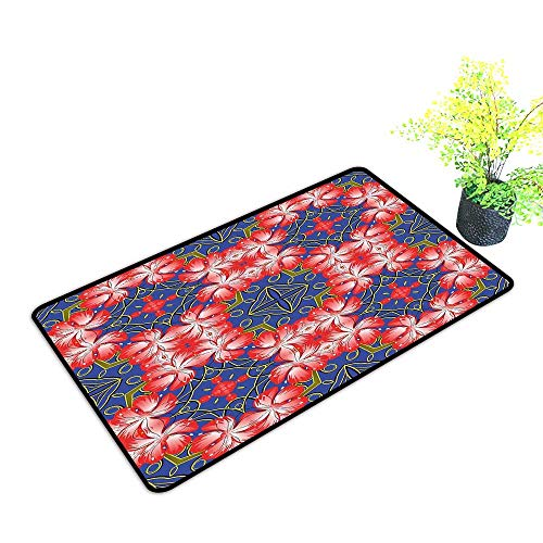 (Zmstroy Outdoor Doormat Floral Blooms Pattern on Diamond Shaped Bands Vibrant Flowers Glamour Beauty Print W24 xL35 Easy to Clean Royal Blue Red Gold)
