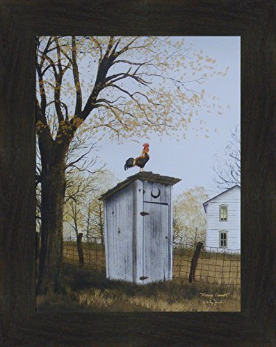 Morning Commute by Billy Jacobs 16x20 Outhouse Bathroom Rooster Country House Primitive Folk Art Print Framed Picture