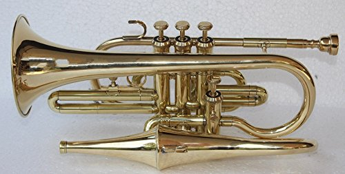 Queen Brass 4 Valve Brass Echo Cornet Brass Finish W/Case Gold by Queen Brass