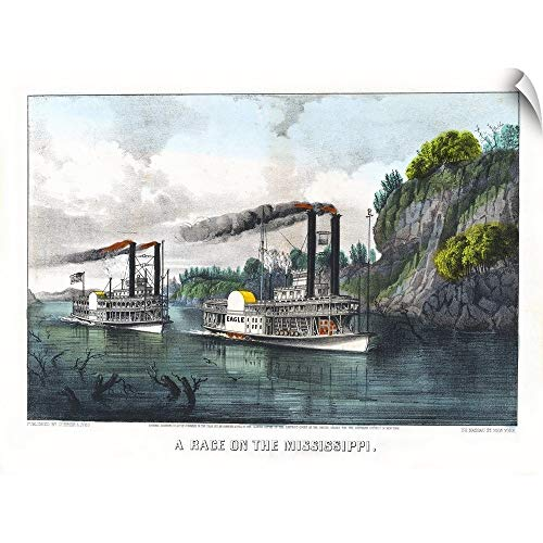 A Race On The Mississippi Wall Peel Art Print, 60