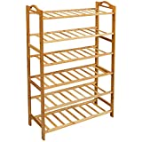LOVIN PRODUCT Shoe Rack, 6 Tiers Natural Bamboo Shoe Rack for Closet; Durable Shoe Organizer/Space Saving/Environmentally Friendly/Utility Storage Shelf for Home, Entryway, Hallway (6 Tiers)