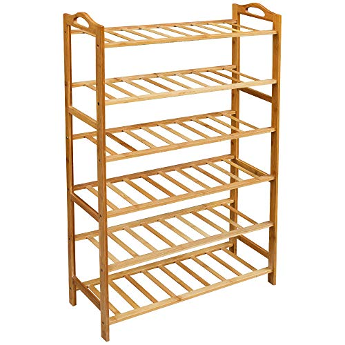 (Lovin Product Shoe Rack, 6 Tiers Natural Bamboo Shoe Rack for Closet; Durable Shoe Organizer/Space Saving/Environmentally Friendly/Utility Storage Shelf for Home, Entryway, Hallway (6 Tiers))