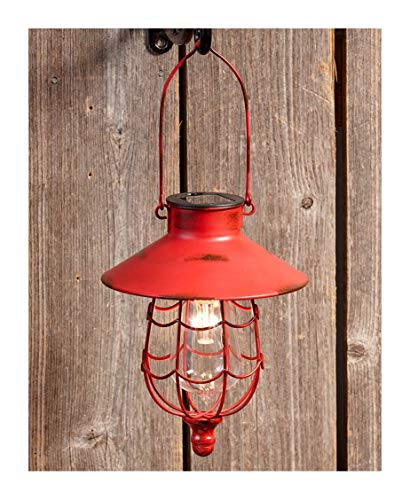 The Lakeside Collection Hanging Solar Lantern- Red