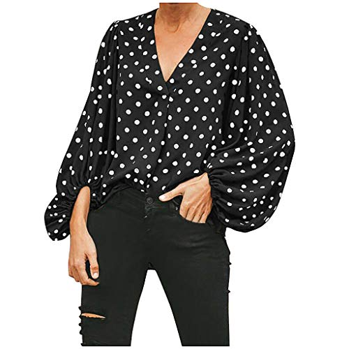 Women's V-Neck Puff Short Sleeve Blouses Casual Polka Dot Ruched Long Sleeve Office Shirt Business Loose Tops Black