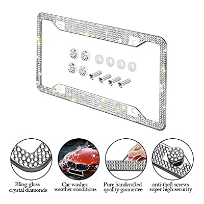 Otostar Bling Bling Car License Plate Frame, Handmade 8 Facets Rhinestones Stainless Steel License Plate Holder Cover with Screws Caps - 2 Pack (Silver 6 Rows 4 Holes): Automotive
