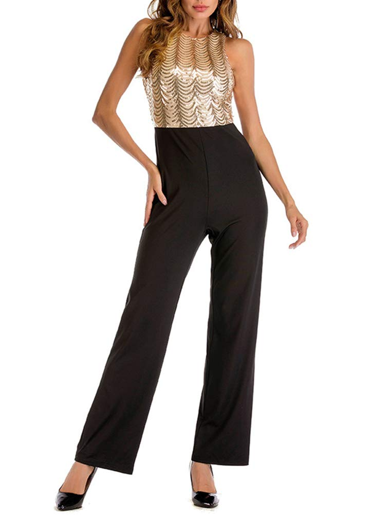 Romacci Women Sleeveless Jumpsuit Sequined Top Open Back High Waist Casual Playsuit Rompers