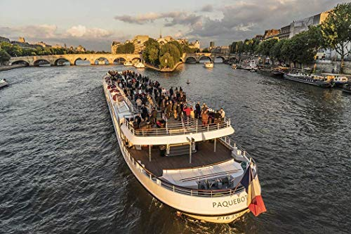 Paris, Photography, Cruiser, party, River Seine, Pont Neuf, bridge, boat, Paquebot, Ile de la Cité, summer, France, Europe, Art Print, Wall Art, Gift, Decor, Photo